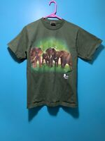 National Park Thailand Hand-Printed Elephant T Shirt Dark Green Mens Sz M