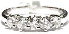 anello veretta in oro bianco 18 kt con 5 diamanti ct 0,92 colore F VVS1 n 15,5