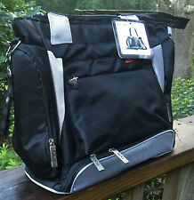 "NEW! ""SKINLY"" Baby Diaper Bag Black-Silver Tote Handbag Waterproof unisex"