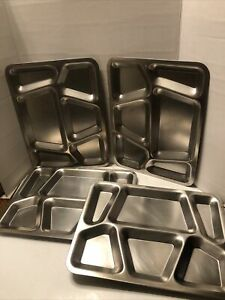 Four (4) Vintage Stainless Steel Food Serving Mess Tray USN Military USN
