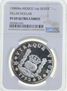 PF69 UCAM 1988 Mo Mexico Pillar Dollar 1 Oz .999 Fine Silver - Graded NGC