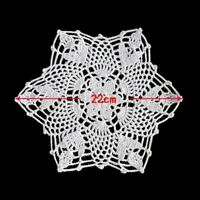 2pcs White Flower 22CM Cotton Yarn Hand Crochet Lace Doilies Placemat Coasters