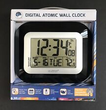 La Crosse Technology Wt-8005U-B Atomic Digital Wall Clock W/ Indoor Temp Bnib!