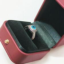 14K LEVIAN White Gold Aquamarine And size 7 Diamond Engagement Ring