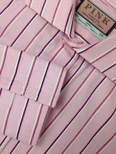 THOMAS PINK LONDON FRENCH CUFF DRESS SHIRT MENS 15.5-34 PINK STRIPED COTTON