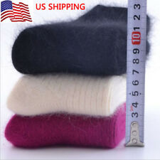 3 Pairs US Women 100% Wool Cashmere Solid Warm Winter Thicken Dress Socks