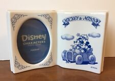 Disney Japan Mickey Minnie Book Ceramic Photo Picture Frame, 1990s Vintage
