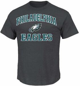 NFL Philadelphia Eagles Men's Majestic T-Shirt Charcoal 100% AUTHENTIC 50/50 NEW