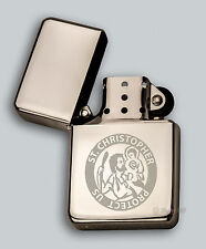 ENGRAVED lighter ST CHRISTOPHER + your text for free - in metal tin  - Petrol