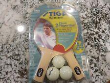 Vintage ? STIGA 2 RED & BLACK PING PONG PADDLE & 3 Ball Set NOS