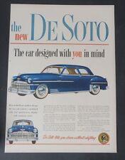 Original Print Ad 1949 DE SOTO Auto Car Designed with You in Mind Vintage 2 Door