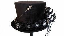 Black Velvet Steampunk Victorian Top Hat with Black & White Bow by Jypsy Jane