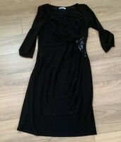 Gina Bacconi Black Dress Sequins Flattering Lined Party Size 14 H