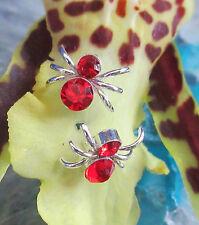 Pendientes plata Araña Insecto Animal cangrejo cristal rojo
