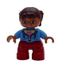 LEGO DUPLO Niña Marrón Cabello Rojo Piernas azul claro Camiseta Nueva NIÑO