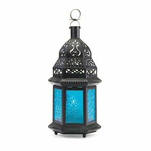 """18 Colbalt Blue Glass Exotic Moroccan Style Candle Lantern Centerpiece 10.2"""" New"""