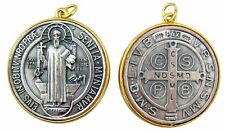 Gold Plate Silver Tu Tone Large Saint St Benedict of Nursia Medal, 1 7/8 Inch