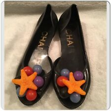 Chanel jelly shoes ballet flats Black slip ons Size 36