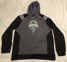 Seattle Sounders FC Logo Gray L Pullover Hoodie MLS Soccer Climawarm Adidas EUC