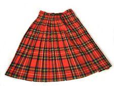 Edinburgh Mill Vintage Tartan Kilt Skirt 8 10 Red Check Pleated New Wool Winter