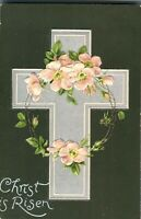 Embossed Easter card Christ is Risen postcard antique colour printed cross flowe