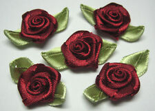 50 Burgundy Satin Ribbon Rose w/ Leaf Sewing Embellishments Craft