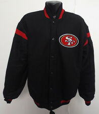 SAN FRANCISCO 49ERS NFL WOOL SATIN REVERSIBLE JACKET FOOTBALL STITCH NEW MENS LG
