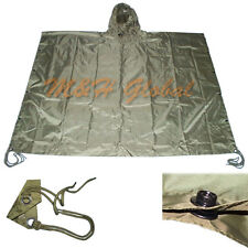Military Style Ripstop Nylon Poncho All Weather Rain Coat - OD Green