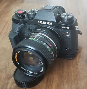 Fuji X-T2, fuji grip, MC Rokkor 50mm PG 1.4, Minolta & Nikon to FujiX adapters