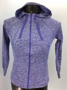 Women's CHAMPION DUO DRY Zip-Up Jacket Hood S/P Color Purple Preowned.       J2A
