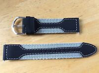 NEW SPEIDEL WATCH BAND BRACELET - Leather & Nylon 19mm 3056R Black & Grey SPORT