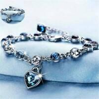 Fashion Ocean Heart Austrian Crystal Chain Jewelry Bracelet Bangle Jewelry Gift