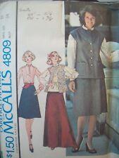 1970s Vest, Blouse, Maxi Skirt Vintage McCalls Pattern 4809 Size 12 Uncut FFold