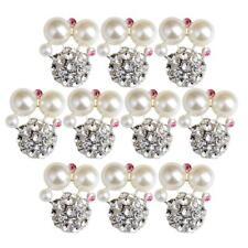 10x Alloy Rhinestone Pearl Flatback Buttons Scrapbooking Embellishment Craft