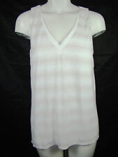 White House Black Market Split Back Striped Tank Top Beige/White NWT M Medium