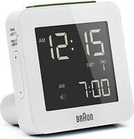 Réveil Quartz BRAUN Blanc - Radio-Piloté - Interface LCD - BNC009WH-RC
