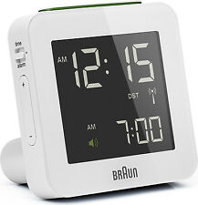 Réveil Quartz BRAUN Blanc - Radio-Piloté - Interface LCD - BNC009WH-RC