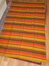 Estate- GIANT Unusual Mid-Century Hand-Loomed Modern Rug Blanket Weaving 56x92