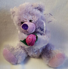Teddy Bear Plush Purple Holding Pink Rose Fuzzy Soft 9""
