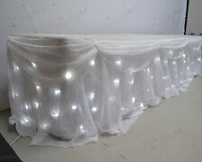 6M White Starlight LED Top Table Skirt with Detachable Voil Overlay and Swag