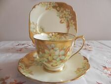 Royal Albert Un-Named Pattern Trio c1930s Handpainted Flowers with Gold Trim