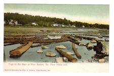 ME - WEST BUXTON MAINE UDB Postcard LOGS IN SACO RIVER FROM HOLLIS SIDE