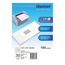 4 X Unistat 38935 White Multi Purpose Labels 30 per Sheet 100 Sheets 30 up