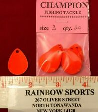 20 #3 Colorado Orange Painted Harness Spinner Bait Blades