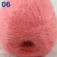 Sale 1 ball MOHAIR 50% Angora goats Cashmere 50% silk Yarn Knitting Salmom pink