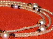 "Eyeglass Chain~Pearl with Gold Crystal Accents~Lovely~NEW~28"" Buy 3 SHIP FREE!"
