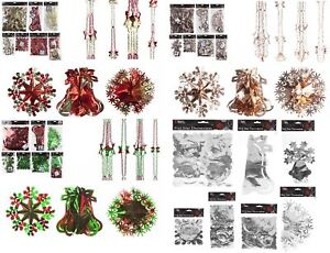 Xmas Hanging Ceiling,Wall Decoration Foil Garland,Bell,Ball,Snow Flake Decor
