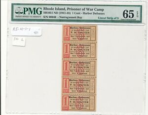 USA WWII POW Camp Chits RI-4-1-1 Harbor Defense, RI 1 Cent  PMG 65 Strip of 5