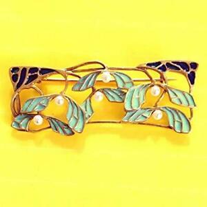 NEU Antik Emaille Jugendstil Brosche Echt 750 Gelbgold Fenster Perlen
