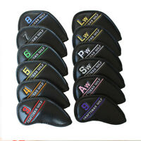USA 12PCS Golf 3#-Lw Iron Golf Iron Headcovers Black Leather for Taylormade NEW